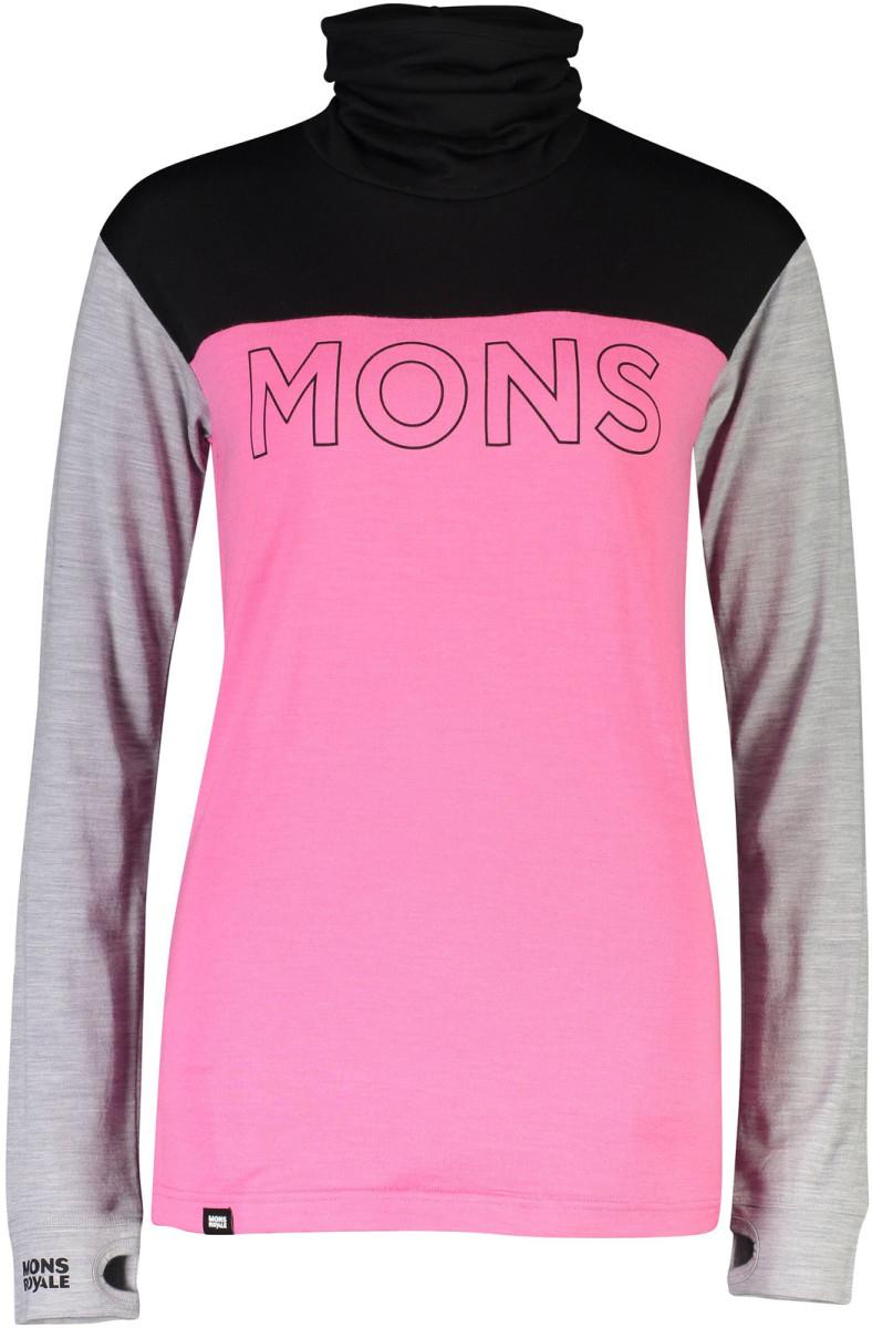 Mons Royale Yotei BF High Neck - pink / black Velikost oblečení: L