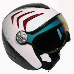H2 R wht/carbon/red + štít VTM006