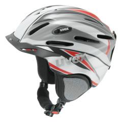 lyžařská helma uvex ultrasonic pro graphics stříbrno-červená-deco detail