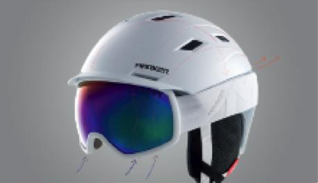 spojení helmy a brýlí Marker